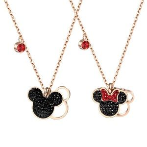 Mickey & Minnie Mouse Crystal & Rose Gold Necklace